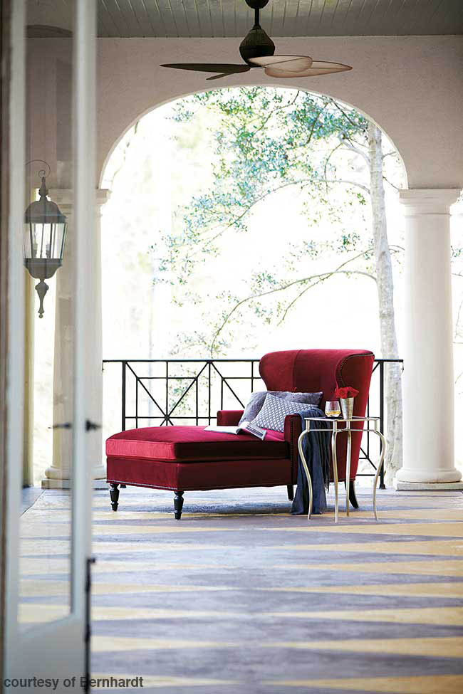 Red velvet covers a relaxing chaise