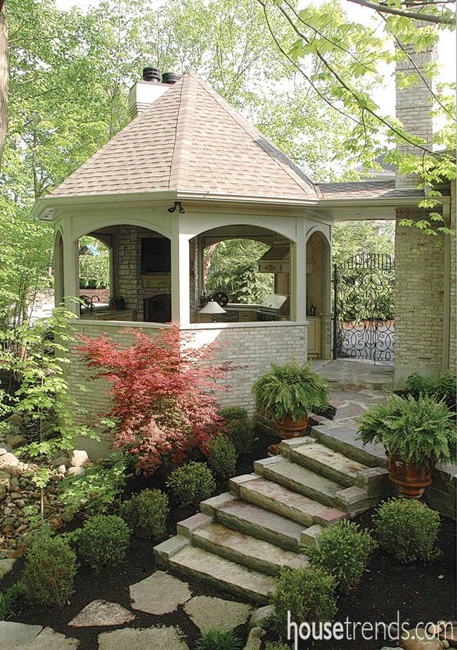 Outdoor gazebo creates a hexagon haven