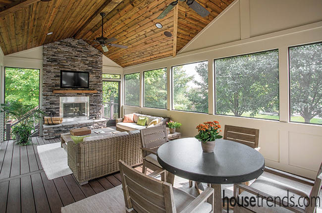 Outdoor living space with indoor amenities