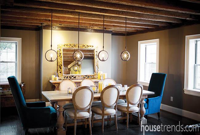 Ceiling balances a dining room design