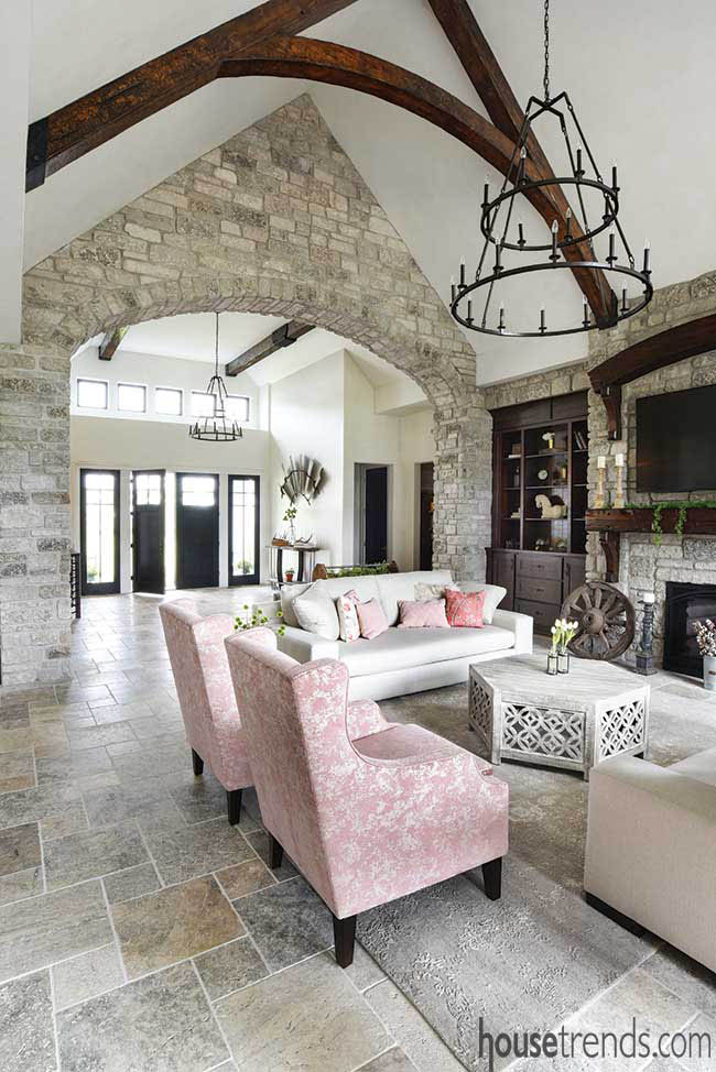 Stone archway in a living room