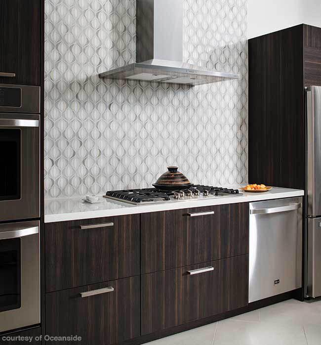 Patterned tile backsplash in a modern kitchen