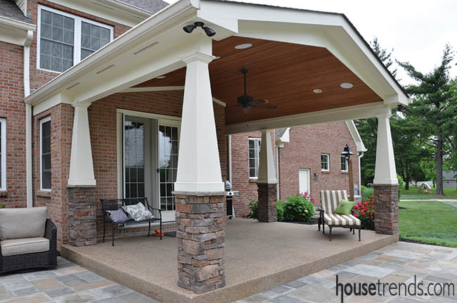 Columns add interest to a covered patio