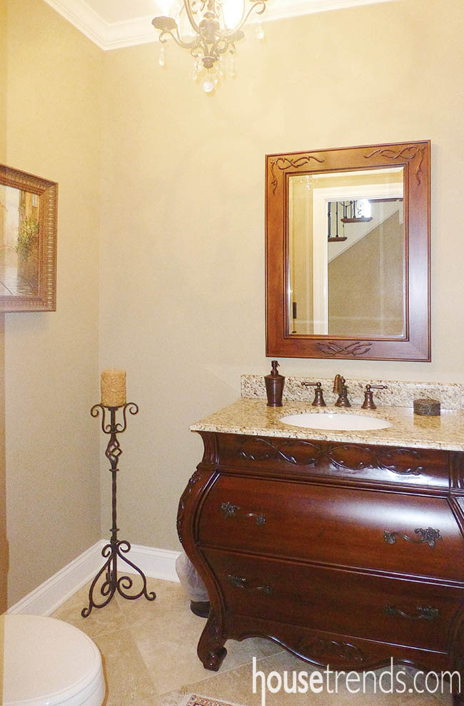 Bathroom vanity adds intriguing curves to a room