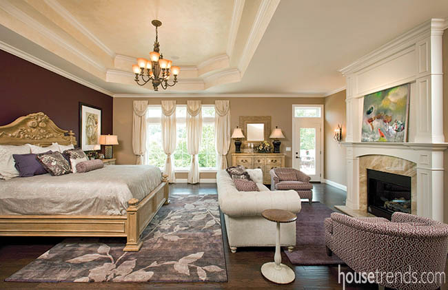 Bedroom design focuses on an accent wall