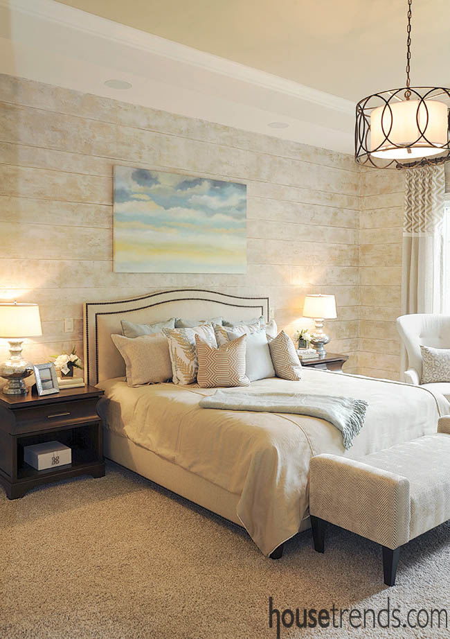 Bedroom design with soothing color scheme