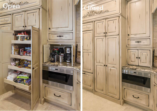 Kitchen pantry cabinets fit perfectly into the design