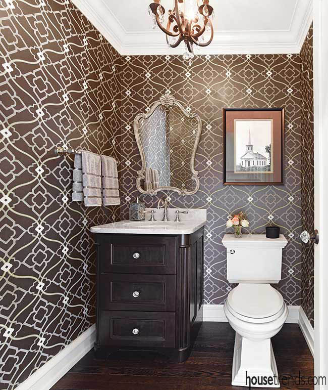 Powder room wallpaper with a variety of lines and colors