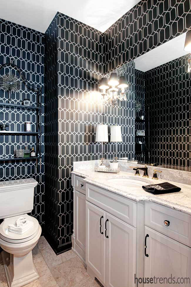 Dramatic black wallpaper for a powder room