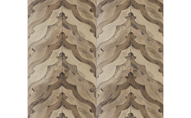 Wood tile pattern adds energy to a room
