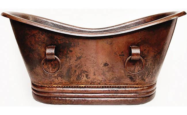 Copper bath tub with old-world elegance