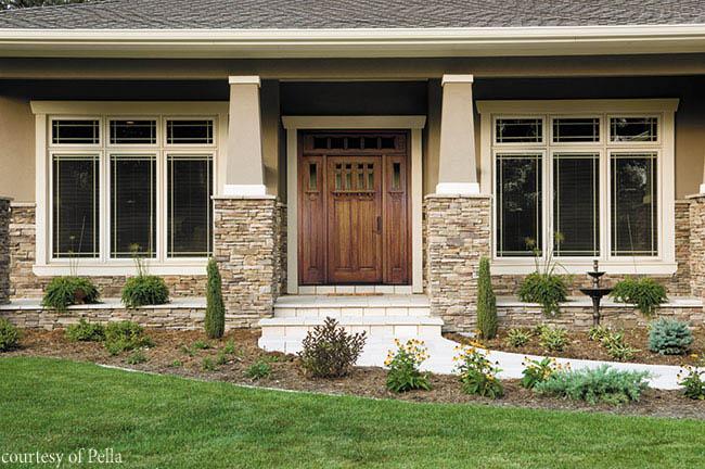 Rustic entry door welcomes guests