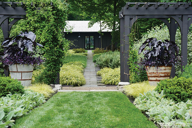 Cute walkway leads from home to pool house