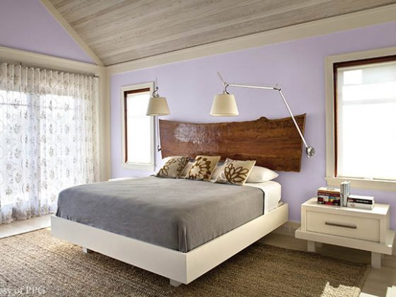 Wall color contributes to a sophisticated bedroom design