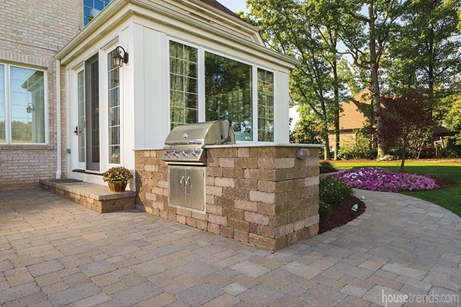 Gas grill completes an outdoor kitchen
