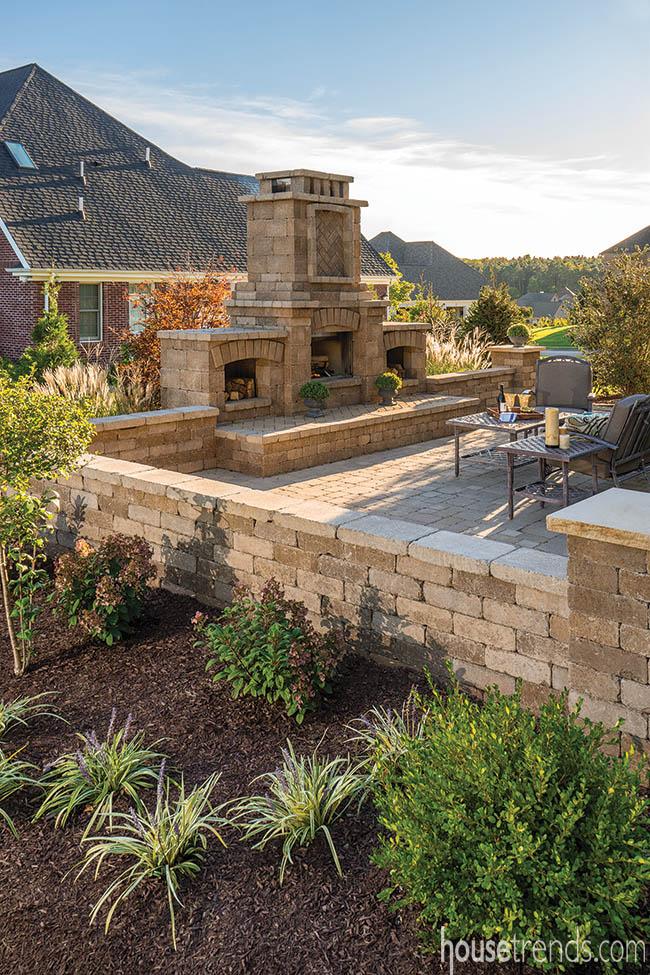Plants soften a back yard patio