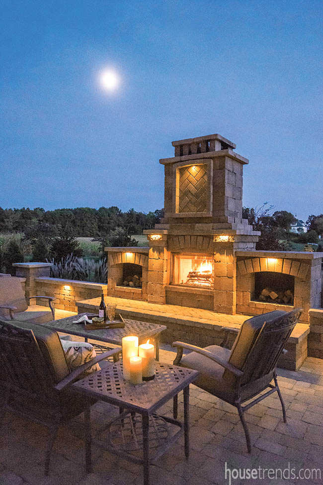 LED lighting adds interest to a fireplace