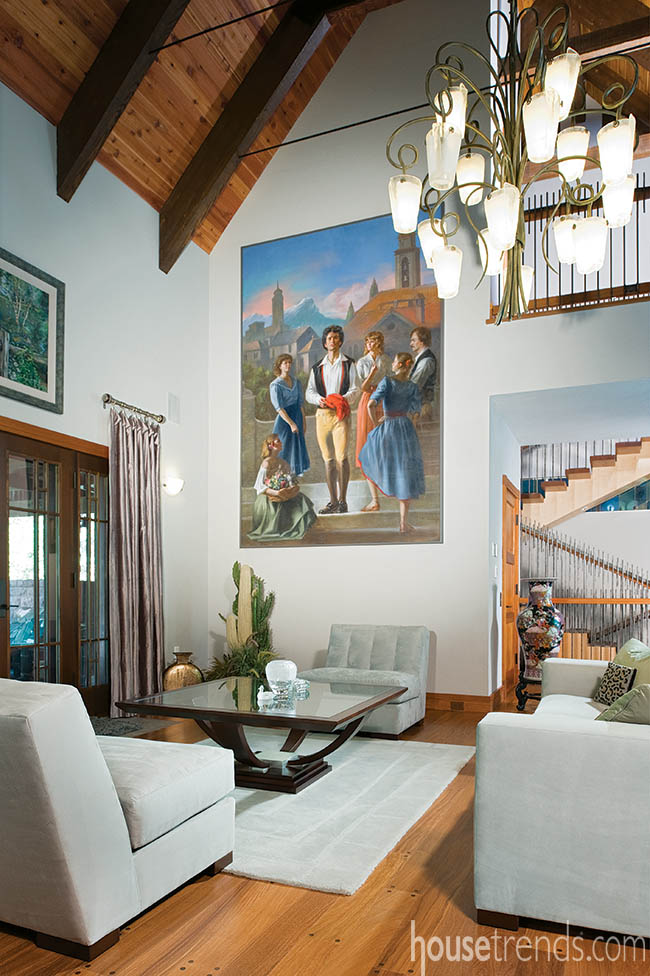 Wall art adds color to a living room design