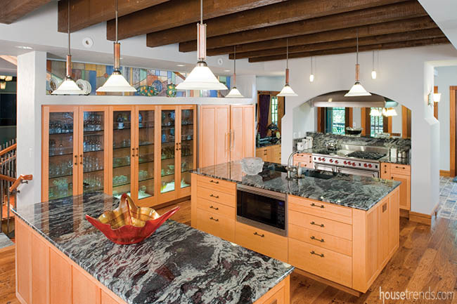 Double islands dominate a kitchen design