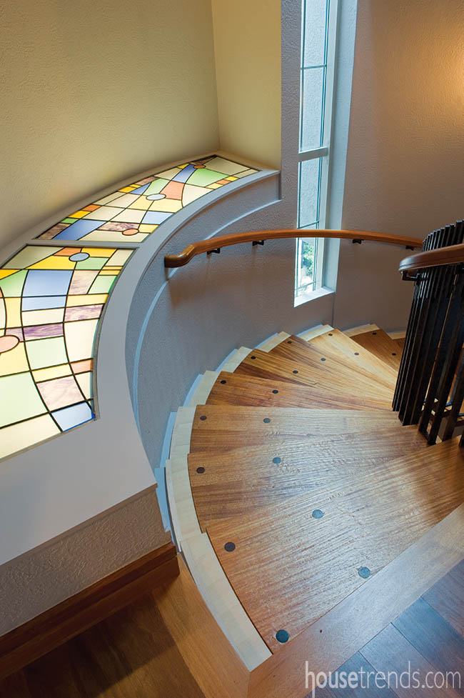Custom staircase with a splash of color