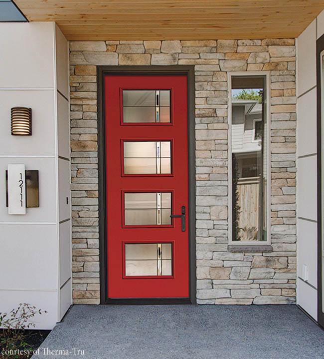 Textured glass offers privacy for a fiberglass door