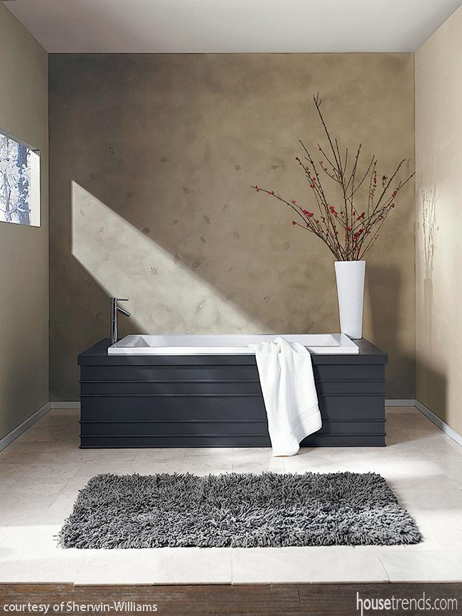 Wall Treatment Softens A Master Bathroom