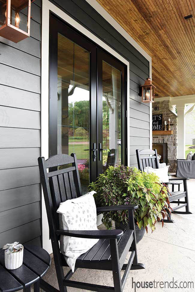 Front porch with farmhouse charm