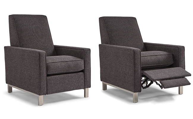 Brushed chrome frame supports a recliner chair