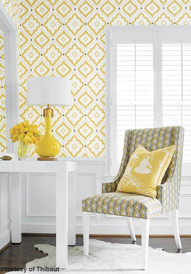 Patterned wallpaper perks up a room