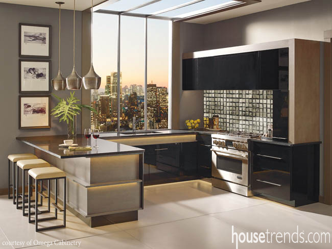 Cabinetry contributes to a sophisticated atmosphere