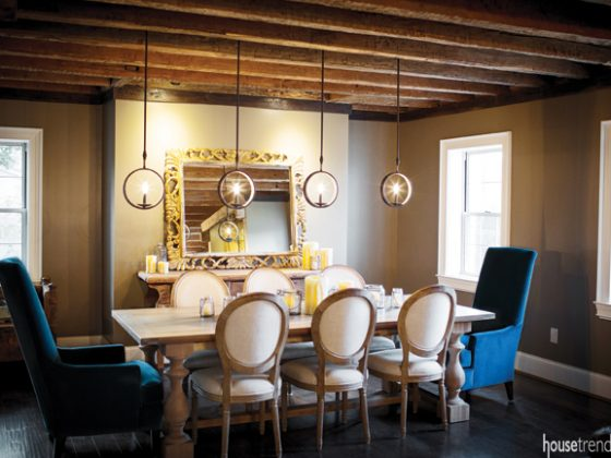 Dining room features multiple wow factors