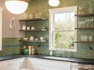 Kitchen backsplash project from Rookwood Pottery