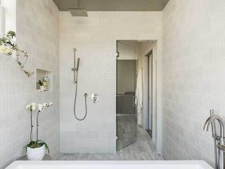 White bathroom project from Rookwood Pottery