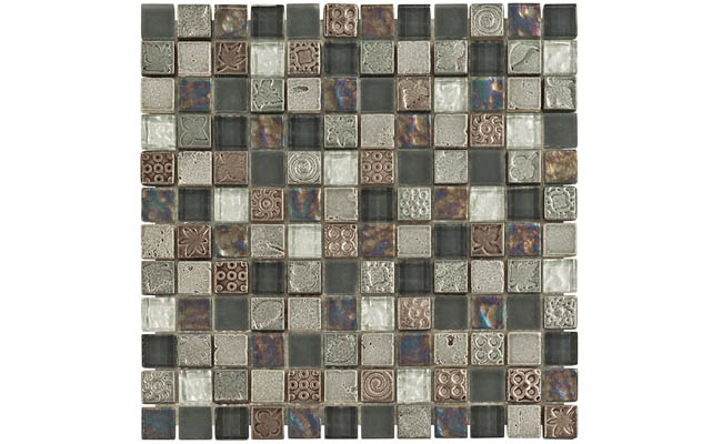 Glass mosaic tile with a dark color scheme