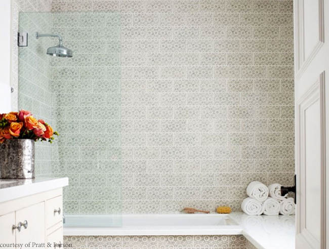 Tile adds dazzling detail to a bathroom