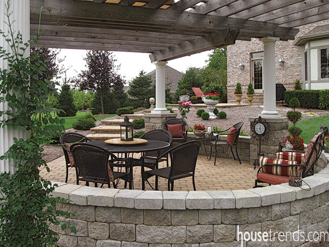 Accessories add formality to an outdoor living space