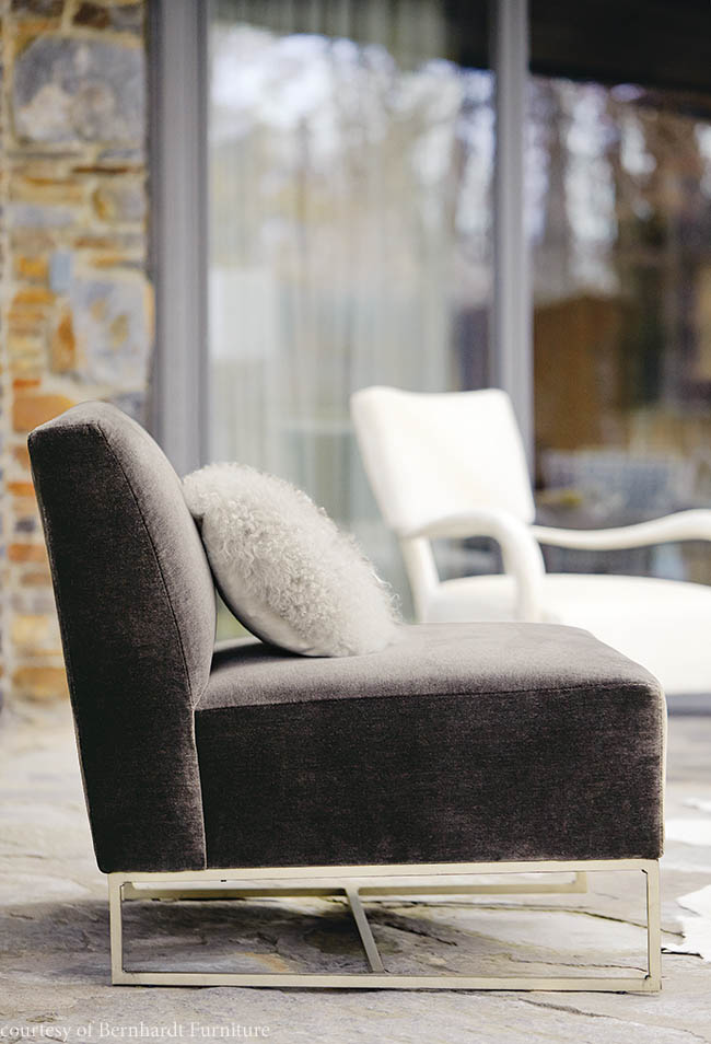 Chair features a low seat