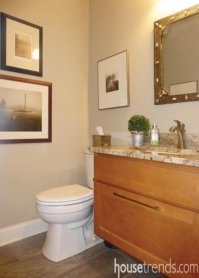 Floating vanity adds a modern twist