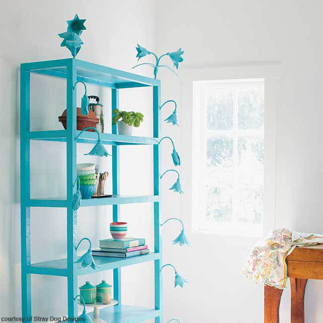 Bright colors draw attention to a bookcase