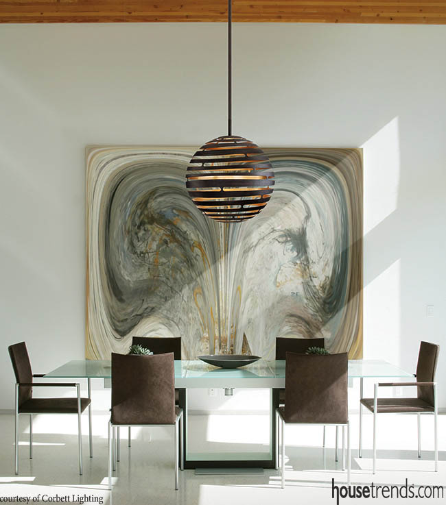 Pendant light is perfect addition to a dining room