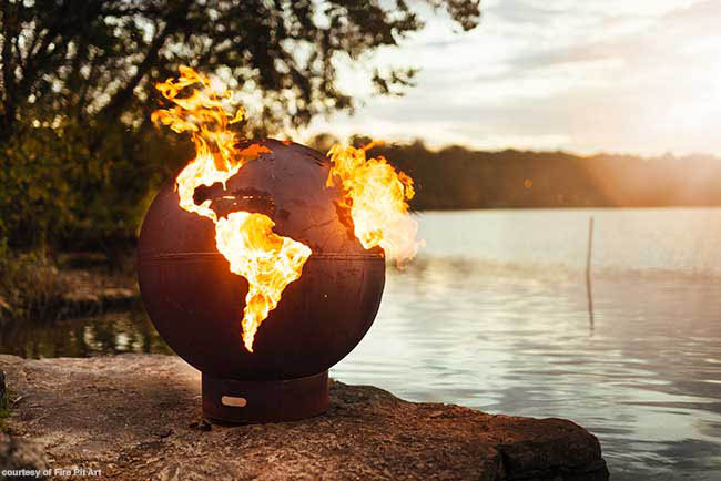 Fire feature made of carbon steel
