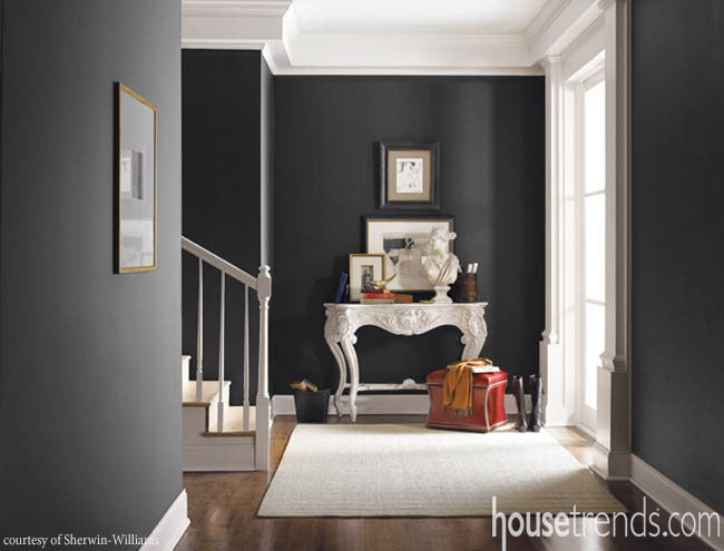 Paint color creates a neutral interior with dramatic flair