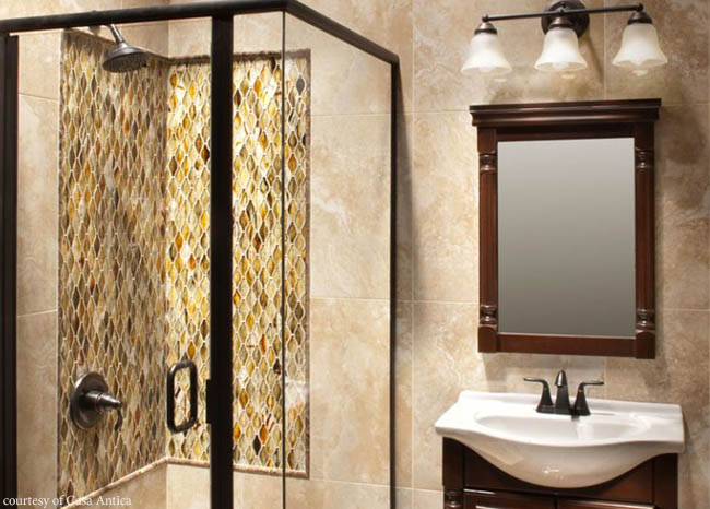 Glass mosaic tile adds color to a shower