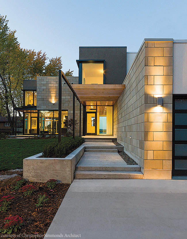 Entry door complements a modern home