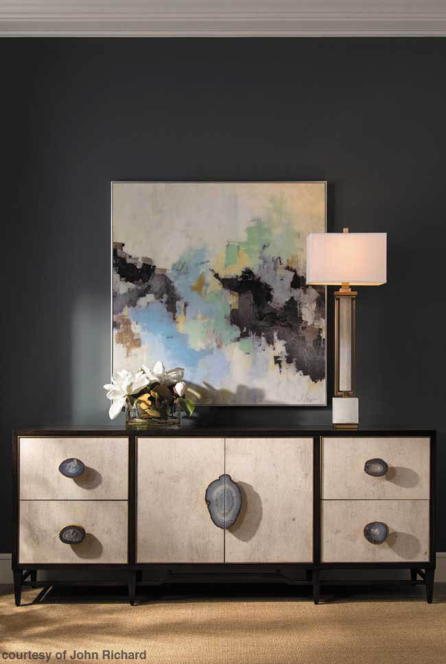 Credenza with agate hardware pulls