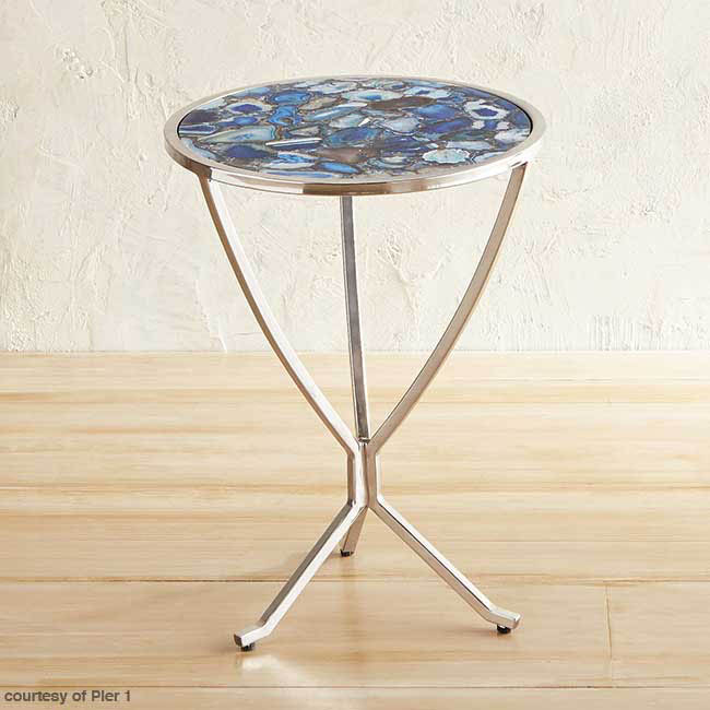 Accent table topped with blue agate