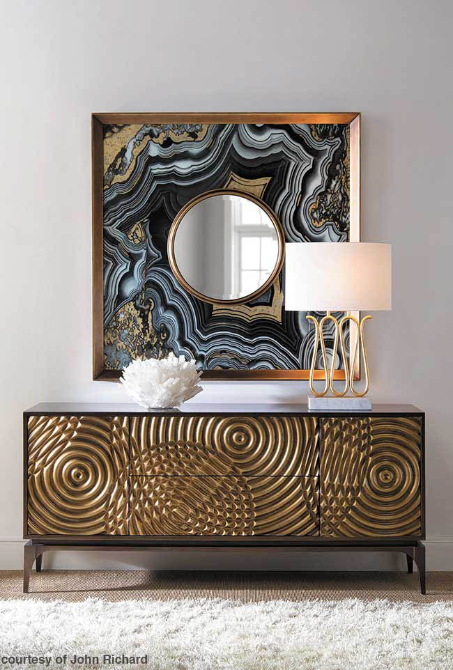 Mirror boasts a hand-painted agate design