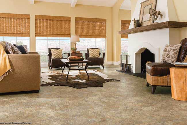 Tile flooring mimics natural stone