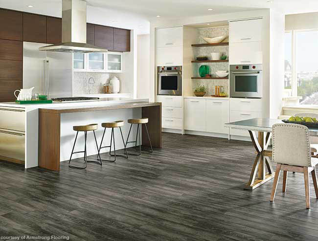 Dark flooring complements a contemporary design