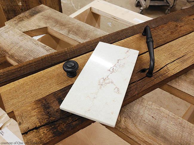 Quartz complements reclaimed lumber